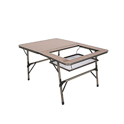 TAOBEGJ Tavolo per Barbecue da Esterno Tavolo da Giardino Tavolo da Balcone Pieghevole Tavolo da Patio Tavolo Pieghevole Tavolo da Campeggio Tavolo da Pranzo Tavolo da Bistrot,Brown