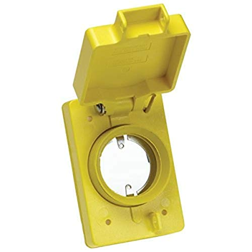 Woodhead 6902 Watertite Flip Lid Receptacle Replacement Cover - Single, 2 Hole Locking Connector Insert, FS/FD Box Flip Lid Cover with NEMA 5-15, 30A