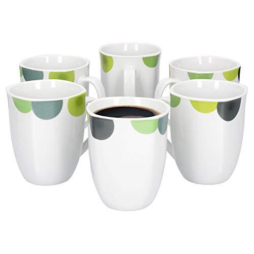 Van Well | 6er Set Kaffeebecher Rondo | 300-350 ml | Jumbo-Tasse | XL-Becher | Tee-Pott | abstrakte Retro-Kreise grün-gelb | edles Porzellan-Geschirr