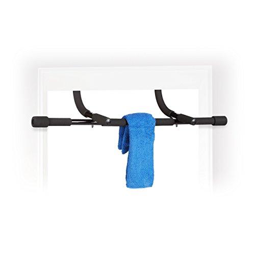 Relaxdays Klimmzugstange Türrahmen, Türreck, gepolstert, zum Aufhängen, Tür, Stahl, HxBxT: 42 x 92,5 x 29 cm, schwarz