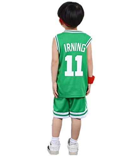 ShangSRS Kinder NBA Basketball Trikots Set - Rocket Harden#13 Lakers Bryant#24 Celtics Ivring#11 Basketball-Shirt Weste Top Sommershorts für Jungen und Mädchen (Irving11(Grün), XL)