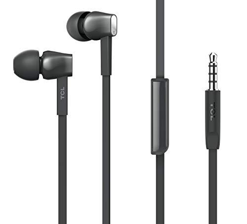 TCL MTRO100 In-Ear Kopfhörer mit Mikrofon (verwicklungsfreies Flachkabel, Fernbedienung und Mikrofon zur Steuerung von Musik und Anrufen), Shadow Black