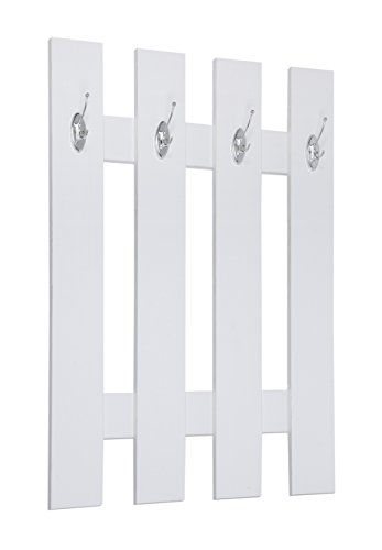 ts-ideen Guardaroba da Parete 100 x 70 cm Color Bianco Pannello 4 Ganci per Ingresso Corridoio Vestibolo