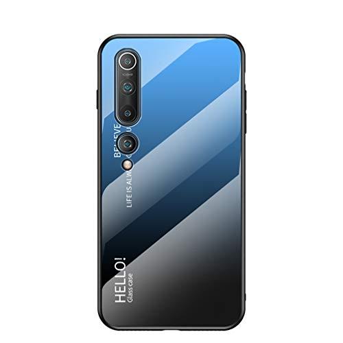 Funda para Xiaomi Mi 10 Pro 5G/Mi 10 5G Respaldo de Vidrio Carcasa Diseño Degradado y Borde de Silicona TPU Resistente a los Golpes Fundas Protectora Carcasas para Xiaomi Mi 10 Pro 5G/Mi 10 5G