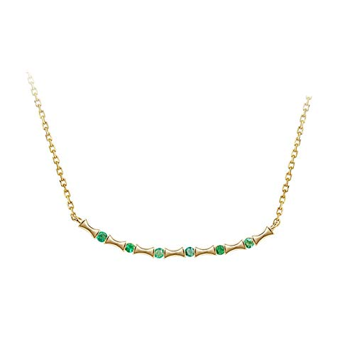 KnSam Oro Collar, Esmeralda Forma de Bambú Oro Collar Mujer 18K 750 Oro Amarillo con Esmeralda Cadena Mujer Oro Blanco San Valentín Collar Oro Verde Cadena con Colgante