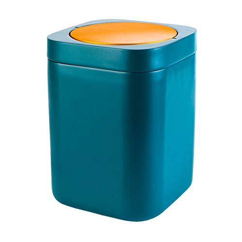 Plástico Papelera,Oficina Papelera,Papelera De Basura,Papelera,Contenedor De Basura,Papelera De Residuos,Agitar La Tapa Anillo De Prensa Inodoro Cubo De Basura-Azul 20.5x20.5x28cm(8x8x11inch)