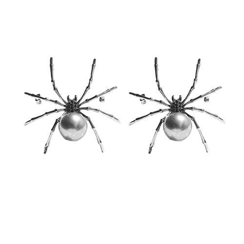 2 × Spinnenbrosche, Viktorianischer Stil Perlmutt Körper und Micro Pave Spinnenbroschen Stifte Silberton, Mode Spinnenform Kubikzirk Imitierte Perlenbrosche Kreative Halloween Spinnenbrosche