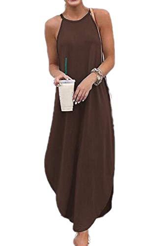 Nieuwe vrouwen mouwloze Boho Jersey zachte jurken Stretch tuniek maxi jurk