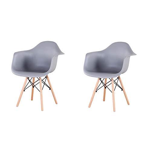 EGOONM Pack 2 sillas,sillas de Comedor Butaca sillas de recepción Silla de Cocina Silla nordica Estilo,Apta para salón, Comedor, Cocina (Gris)