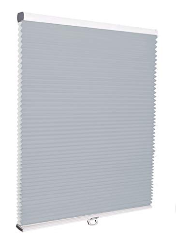 Cordless Honeycomb Window Blinds, Light Filtering Bottom Up Grey Blue Cellular Shades, UV Protection Pleated Blinds for Windows, French Doors, Sliding Doors, Kitchen