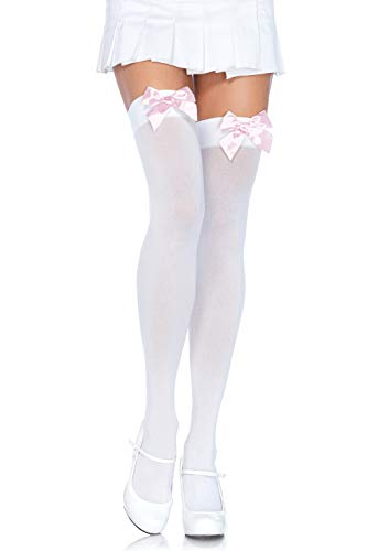 Leg Avenue Women's Satin Bow Accent Thigh Highs, White/light Pink, One Size