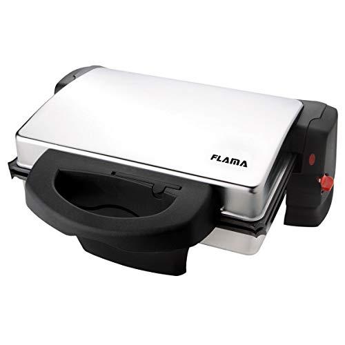 FLAMA 441FL Grill Magnus INOX 1800W, Placas Grill Extraibles com Revestimiento Antiadherente, 4 Posiciones de Cocción, Superficie de Cocción: 28cm X 20cm