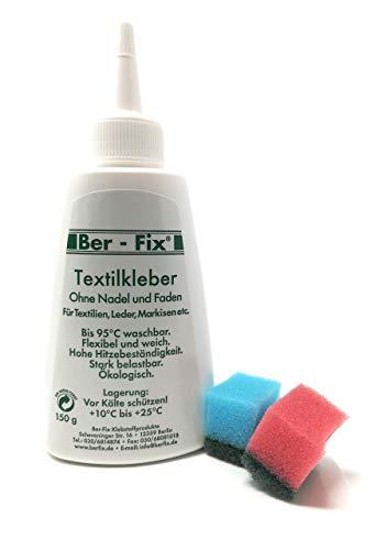 BER-fix pegamento textil lavable a 95° para piel, piel sintética, fibra, textiles de neopreno (150 ml)