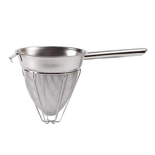Winco CCB-8R Stainless Steel Reinforced Bouillon Strainer, 8 inch - 1 Each.