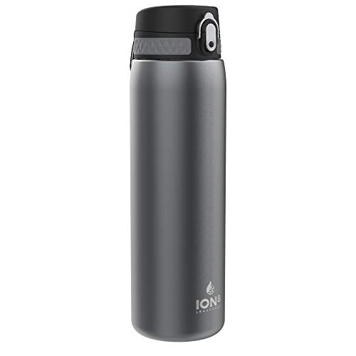 Ion8 Acero Inoxidable Botella Agua, Sin Fugas, Gris, 1000ml