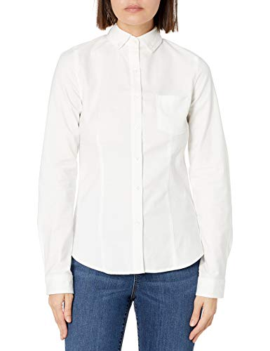 Lee Uniforms Juniors Long Sleeve Stretch Oxford Blouse, White, Large