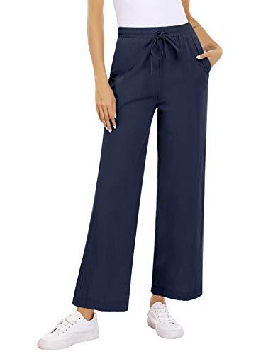 Akalnny Pantaloni Donna Estivi Casual Larga Elegante Pantalone Solido Colore Larghi Donna Leggeri Vita Alta con Elastico Lino Pantaloni(Blu, L)