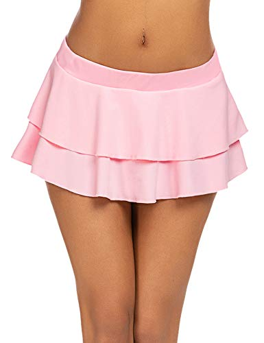 Avidlove Women Sexy Role Play Pleated Mini Skirt Solid Ruffle Lingerie(Pink,L)
