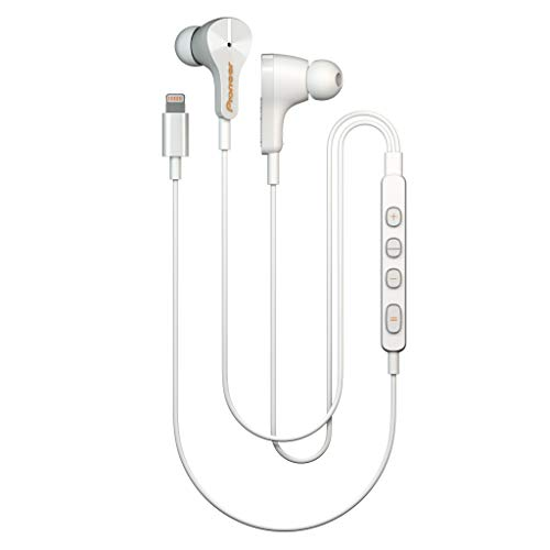 Pioneer Rayz Original Active Noise Cancelling Earbuds wired with Mic, Auto-pause, Hands-free Hey Siri, Lightning Cable Earphones Compatible with iPhone, iPad and iPod. MFI Certified (Ice White)