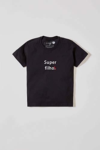 Camiseta Mini Estampada Super Filho, Especial Dia Das Mães, Reserva Mini, Preto, 04