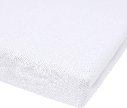 Dudu N Girlie Mini Cot/Space Saver Cot 100% Cotton Jersey Fitted Sheet 100 x 50 cm. (White)