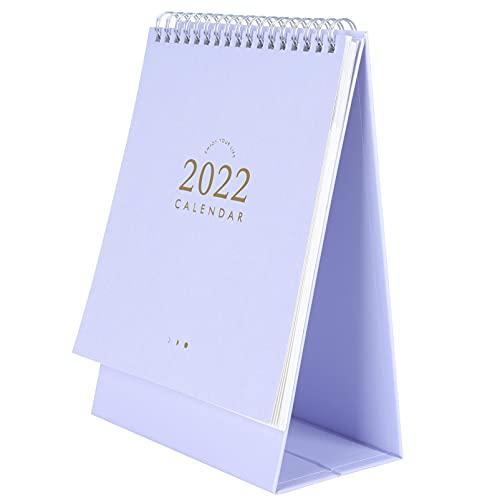 WINOMO 2022 Calendario de Escritorio de Escritorio Flip Página Bobina de Giro Calendario Agenda Anual Planificador Bloc de Notas Calendario de Pie para Casa Oficina Escuela Violeta