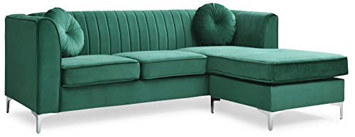Glory Furniture Delray Sofa Chaise, Green. Living Room Furniture, 3 Seater