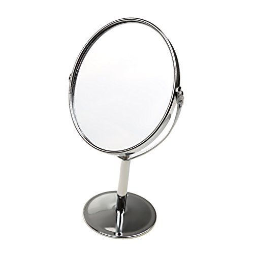 Gazechimp Miroir de Table Miroir Cosmétique sur Pied Double Face Pivotante Normal et Miroir Grossissant 1x / 2x