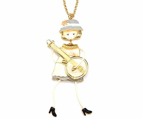 Oh My Shop SP746E Halskette mit Anhänger Puppe Kleid Metall bemalt Ecru mit Gitarre und Hut