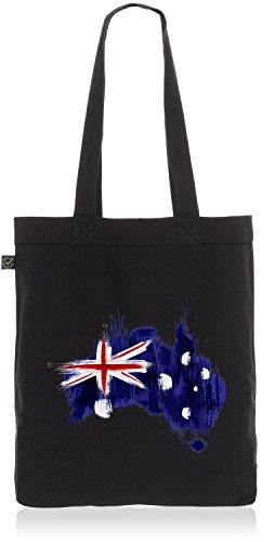 CottonCloud Australien Baumwoll-Beutel Einkaufs-Tasche Australia Flagge WM EM Sport Festival Fahne Uni Bag, Farbe:Schwarz