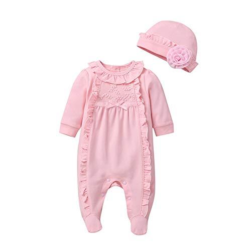 Miyanuby Neugeborenes Baby Mädchen Schlafstrampler Rüschen-Trim Langarm Fuß Nachtwäsche Strampler Body Overall Schlafanzüge Mit Hut