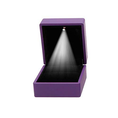 Caja de regalo con luz LED para pendientes, anillo de compromiso, anillo de joyería (morado)