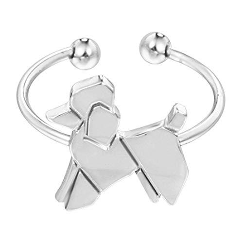 Youkeshan Hanigbibi - Anillo de perro con forma de Origami de plata o oro, anillo para cachorro,...