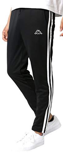 [カッパ] ランニングウェア ジャージ メンズ 下 タイト ジョガー ロングパンツ サイドライン イージーパンツ ブラック 大きいサイズ XL