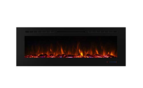 Benrocks 60 Inches Electric Recessed Fireplace with 750/1500 Watt Heater, Overheating Protection, Logset & Crystal, Adjustable Flame and Temperature by Touch Panel & Remote