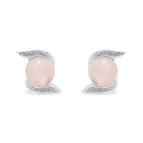 B.&C. Gioielli Orecchini donna in oro bianco 18kt, diamanti e quarzo rosa