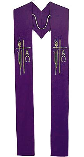 Alpha Omega Wheat Priest/Clergy Overlay Stole (Purple)