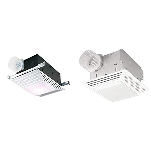 Broan-NuTone 655 Bath Fan and Light with Heater, 70 CFM 4.0 Sones, White Plastic Grille & 678 Exhaust Ventilation Fan and Light Combination for Bathroom and Home, 50 CFM, 2.5 Sones, White