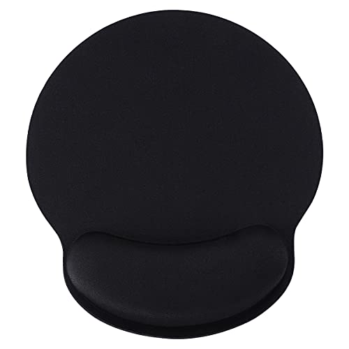 Ergonomic Black Mouse Pad with Wrist Support Gel for Computer, Small Gaming Mouse Pad with Wrist Rest Support for Laptop, Memory Foam Mousepad Can Relax Your Wrist (1 Pack)