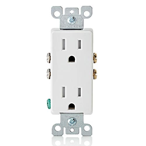 Leviton T5325-W 15 Amp 125 Volt, Tamper Resistant, Decora Duplex Receptacle, Straight Blade, Grounding, 1-Pack, White