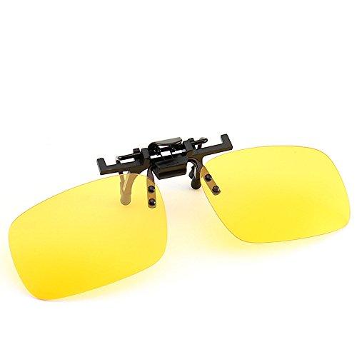 KOUTEI スポーツサングラス 偏光レンズ 超軽量 UV400 跳ね上げ式 紫外線をカット 前掛けクリップ式サングラス TR90 男女兼用 自転車 釣り 野球 テニス ゴルフ スキー ランニング ドライブ (クリップ式/夜間用のイエロー)