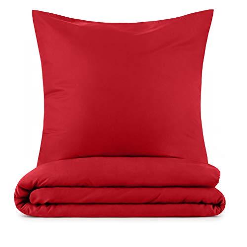 Blumtal Mikrofaser Bettwäsche 135x200 cm + Kissenbezug 80x80 cm - Superweiches Bettbezug Set, 2 teilig, Rot