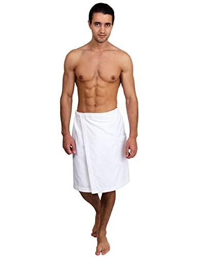 TowelSelections Men's Wrap, Shower & Bath, Terry Velour Towel Large/X-Large White