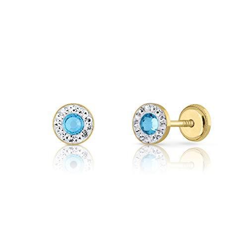 Pendientes de Bebe/Niña/mujer oro 18kts con piedras y centro color azul