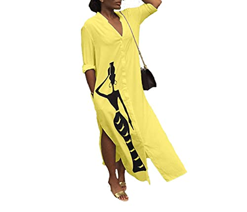 Women's Split Shirt Dress with Long Sleeve Printed V-Neck