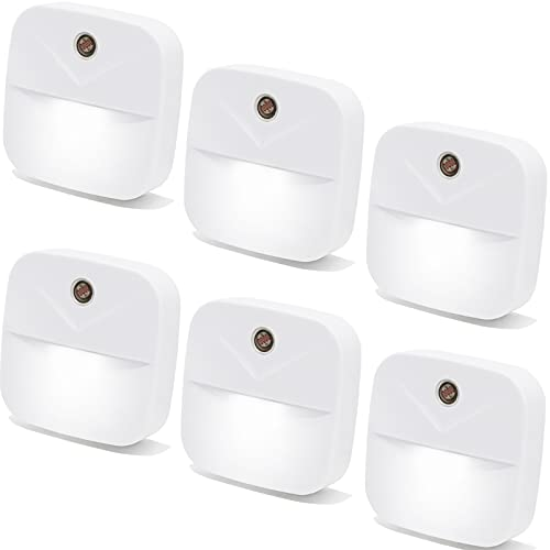6 Pack LED Night Light Plug in, Smart Nightlights with Dusk to Dawn Sensor, Plug Into Wall Lights Suitable for Bedroom, Kids, Toilet, Kitchen, Hallway, Stairs, Garage, White Night Lights