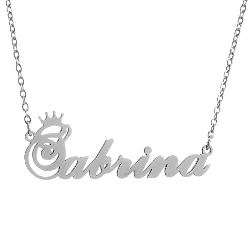 Personalized Name Crown Necklace,Customized Script Initial Women Girl Nameplate Charm Crown Necklace Stainless Steel Pendant Necklace Chain Jewelry Gift for Boy Sabrina-Silver