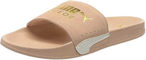 PUMA Unisex Adult Leadcat FTR Suede Classic Zapatos de Playa y Piscina, Pink Sand Team Gold-Marshmallow, 46 EU