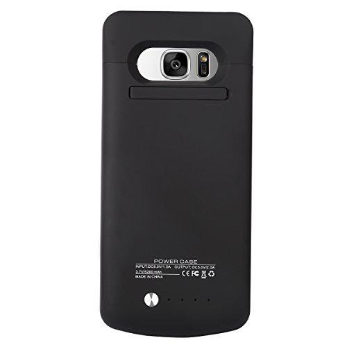 BasicStock Samsung Galaxy S7 Akku Hülle, Ultra Dünn Batterie Hülle Externer Akku Case Aufladbar Batterie Ladehülle Integrierten Ersatzakku Ladegerät Power Bank Backup Extra Pack (Schwarz)
