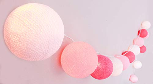 CREATIVECOTTON Guirlande Lumineuse, Boules de Coton avec Mode Timer et Mode Veilleuse (Fairytale, 20 boules)